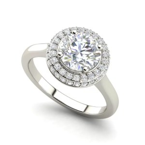 Halo Pave 0.75 Carat Round Cut Diamond Engagement Ring