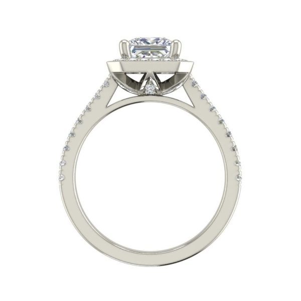 Halo Pave 0.95 Carat Princess Cut Diamond Ring White Gold