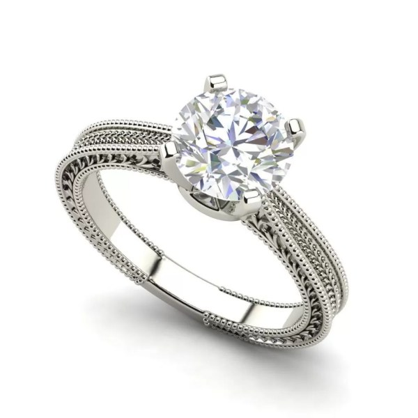 Hand Engraved Solitaire 0.5 Ct Round Cut Diamond Engagement Ring