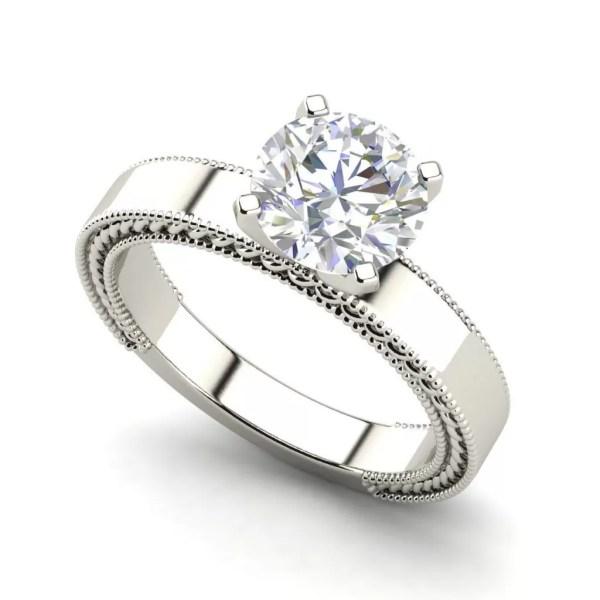 Handmade Milgrain 0.5 Carat Round Cut Diamond Engagement