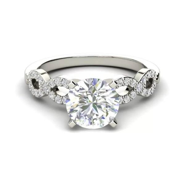 Infinity Pave 0.85 Carat Round Cut Diamond Engagement Ring
