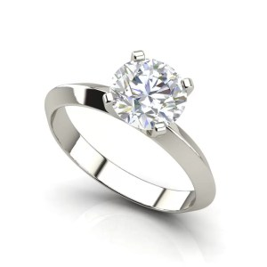 Knife Edge 0.5 Carat Round Cut Diamond Engagement Ring