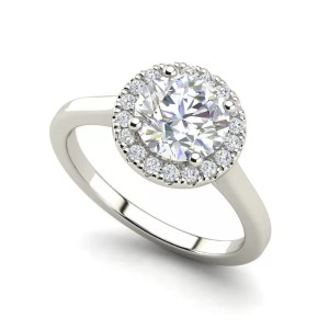 Pave Halo 0.65 Carat Round Cut Diamond Engagement Ring