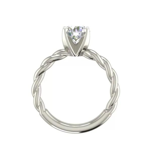 Round Cut 0.5 Carat Twist Solitaire Diamond Engagement Ring