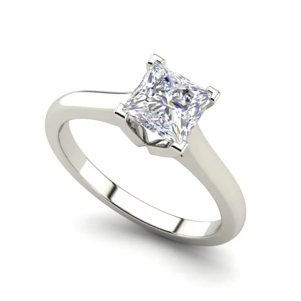 Solitaire 0.5 Carat Princess Cut Diamond Engagement Ring