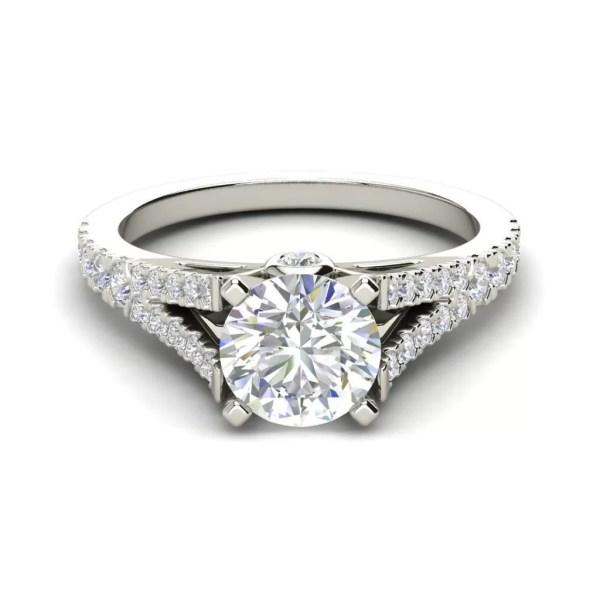 Split Shank 1.25 Carat Round Cut Diamond Engagement Ring