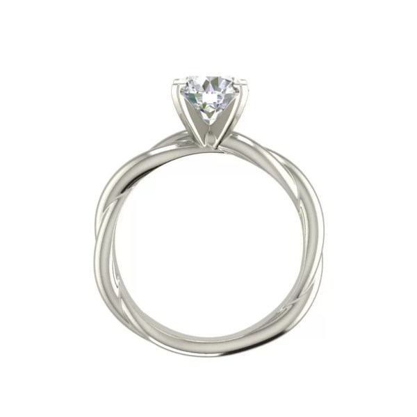 Twist Solitaire 0.5 Carat Round Cut Diamond Engagement Ring