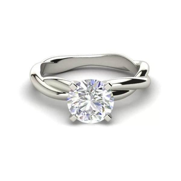 Twist Solitaire 0.5 Carat Round Cut Diamond Ring White Gold