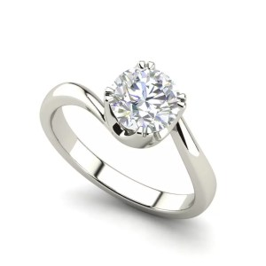 Twist Solitaire 0.5 Carat White Gold Round Cut Diamond Engagement Ring