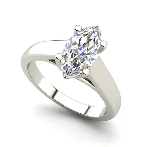 Solitaire 1 Carat Marquise Cut Diamond Engagement Ring