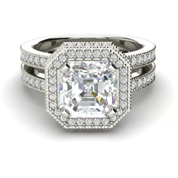 Split Shank Pave 2.25 Carat Asscher Cut Diamond Engagement Ring (3)