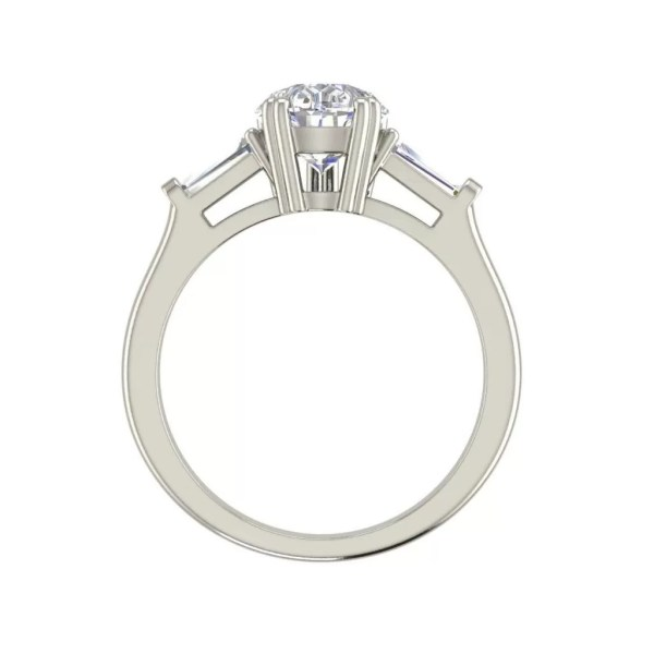 Baguette Accents 1.5 Ct Pear Cut Diamond Engagement Ring