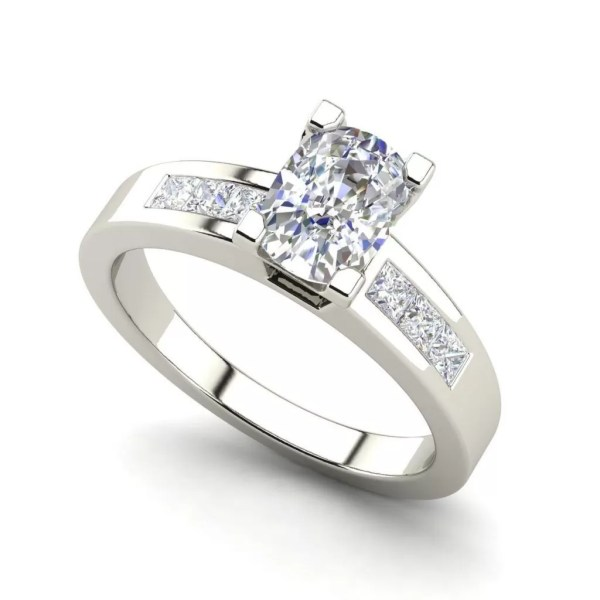 Channel Set 1.45 Carat Oval Cut Diamond Engagement Ring