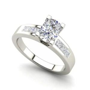 Channel Set 1.45 Carat Oval Cut Diamond Engagement Ring