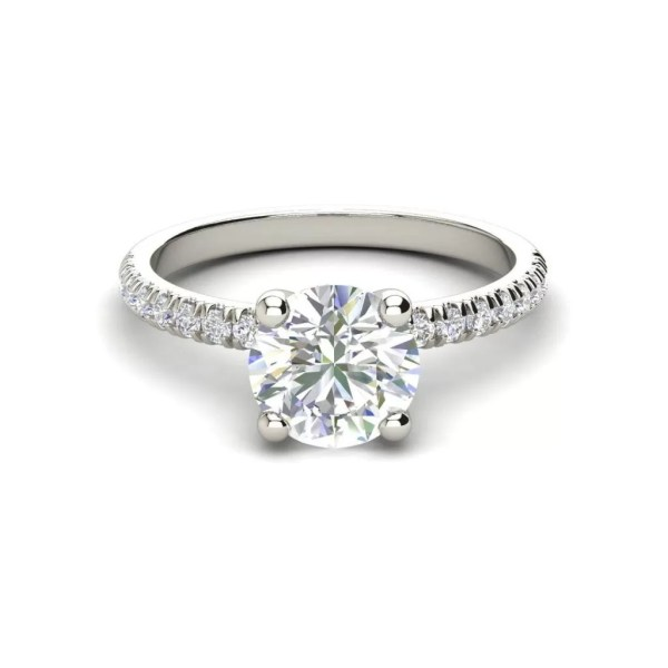 Pave Flush Fit 1.35 Carat Round Cut Diamond Engagement Ring 2