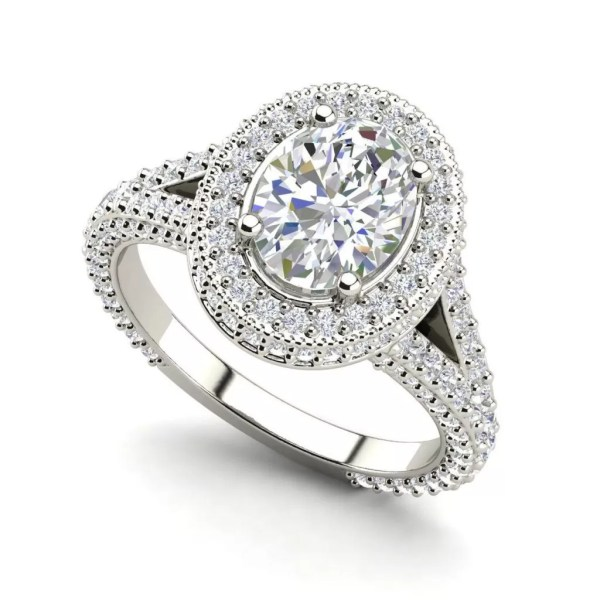 Pave Halo 2.35 Carat Oval Cut Diamond Engagement Ring