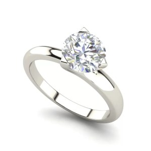 Solitaire 1 Carat Round Cut Diamond Engagement Ring