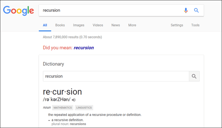 خدعة الاستدعاء الذاتي فى جوجل