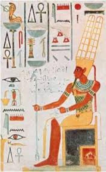 الإله إيمين (آمون) يجلس على العرش