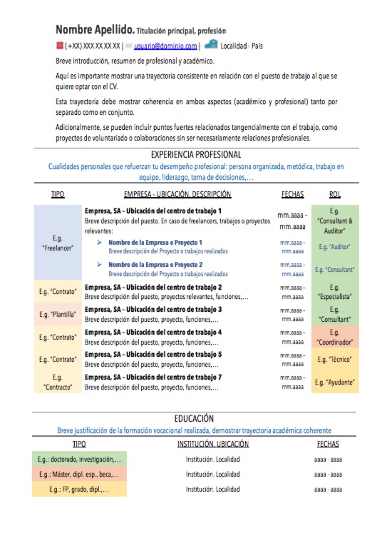 Modelo De Curriculum Vitae Para Experiencia Y O Formacion Acumuladas