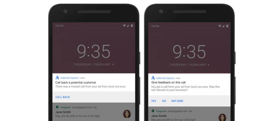Google AdWords Express'e Kaçırılan Çağrılar İçin Bildirim Özelliği Geldi