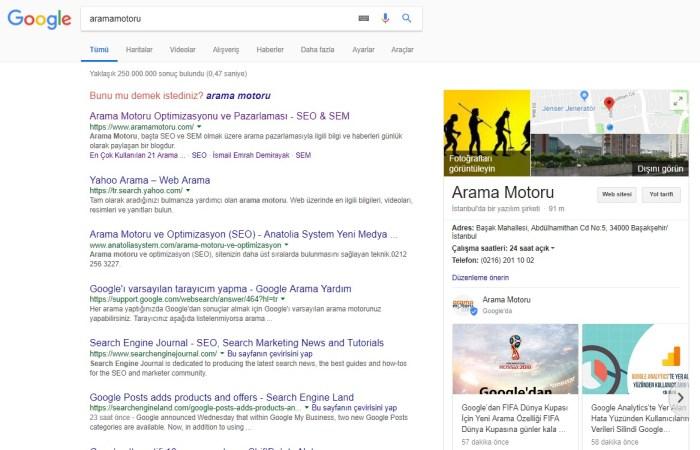 Google My Business Google Arama Sonuçları