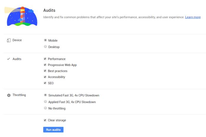 Google Lighthouse Chrome Denetim Sekmesi