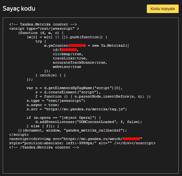 Yandex Metrica Sayaç Kodu