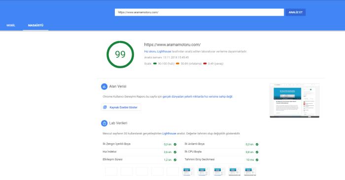 Yeni Google PageSpeed Insights
