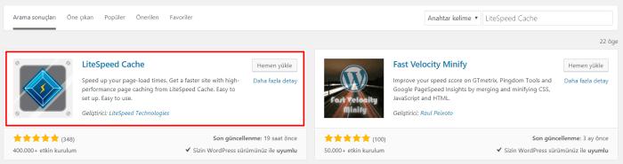 Wordpress LiteSpeed Cache Kurulumu