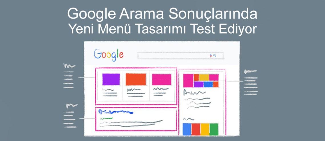 Google Arama sonuçlarında yeni menü tasarımı