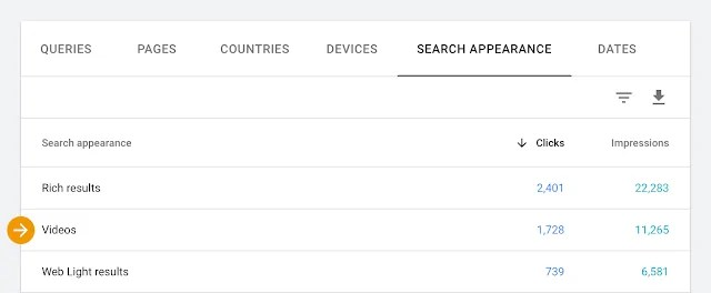 Search Console video arama sonuçları raporu