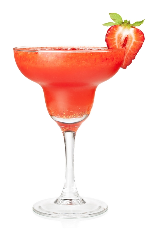 Frozen strawberry daiquiri alcohol cocktail. Isolated on white background