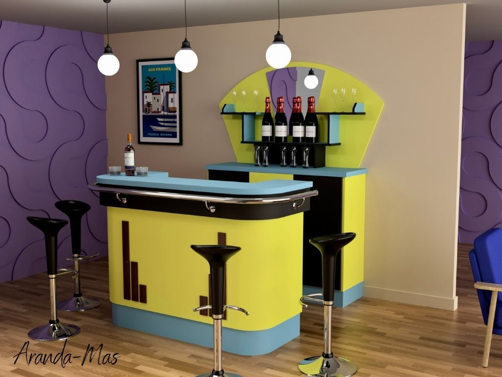 Home Bar avec comptoir style FORMICA