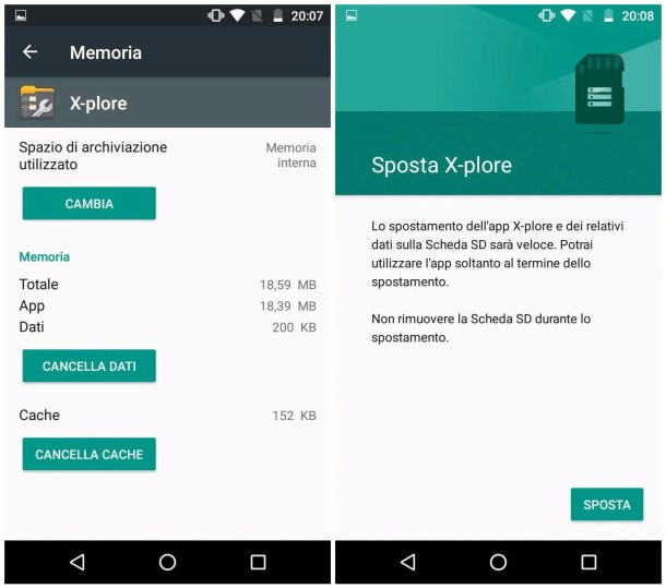 Spostamento manuale app su microSD