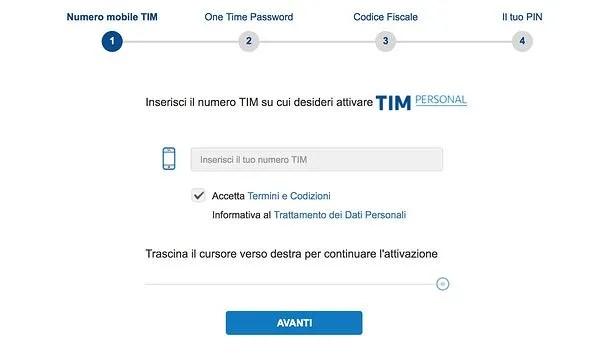 Creazione account TIM