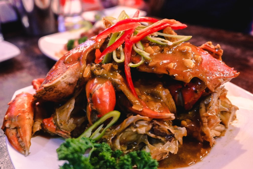 """ALT=""""southside grill and the crab with its singaporean sauce"""""""