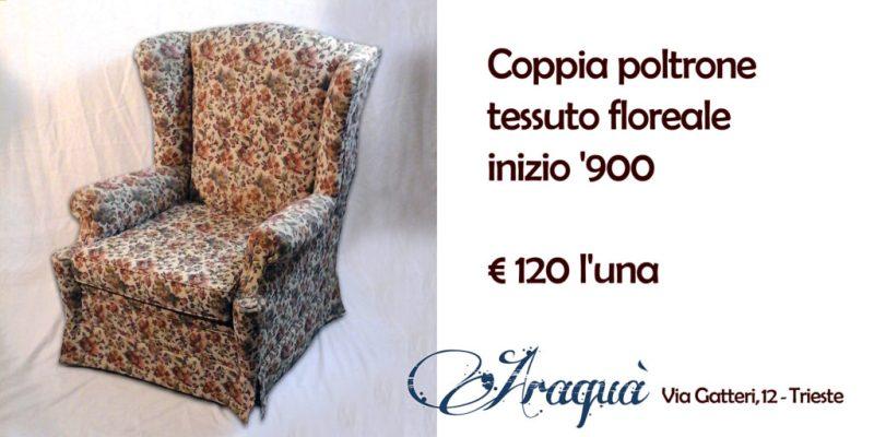 Coppia poltrone tessuto floreale inizio '900 - € 120 l'una