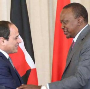 President Uhuru Kenyatta and his Egyptian counterpart Abdel Fattah el-Sisi at State House Nairobi yesterday. The Egyptian leader is in the country for a State visit. [PHOTO: EDWARD KIPLIMO/STANDARD]