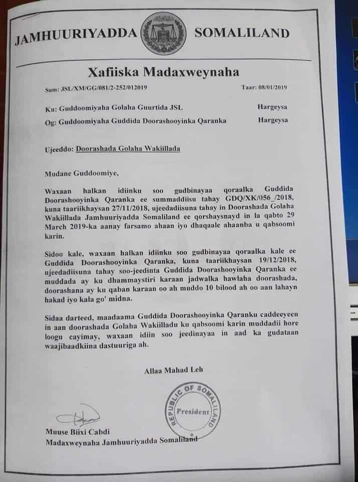Warqada  Madaxweynaha Somaliland Muuse Biixi u gudbiyay Guurtida araweelo News Network