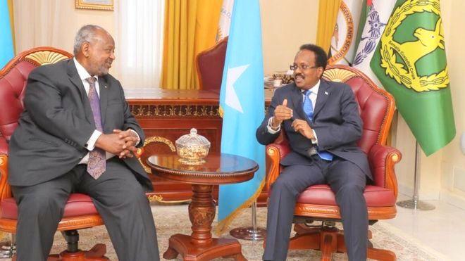 Madaxweynaha Soomaaliya Maxamed Cabdullaahi Farmaajo iyo Madaxweynaha  Djibouti Ismaciil Cumar Geele  Muqdisho 16 March 2019, sawirka VILLA Somalia.