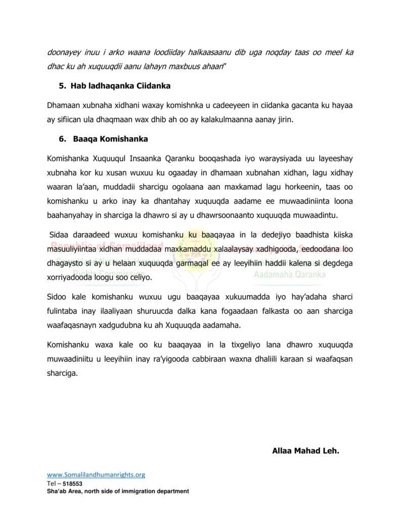 Warbixin Komishanka Qaranka Somalialnd ee Xuquuqda Aadamuhu kasoo saaray  Xadhigii Saraakiisha Xisbiga WADDANI 26 Nov 2019.