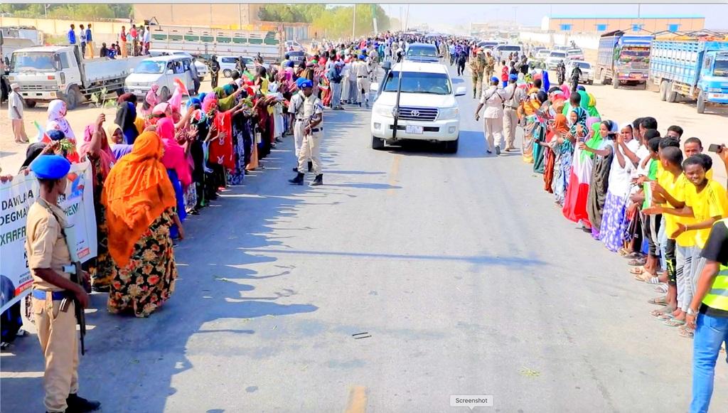 Safarka iyo soo dhowaynta Madaxweynaha Somaliland Muuse Biixi Cabdi iyo wefdigiisa Berbera 18 Oct, 2020, Image Araweelo News Network.