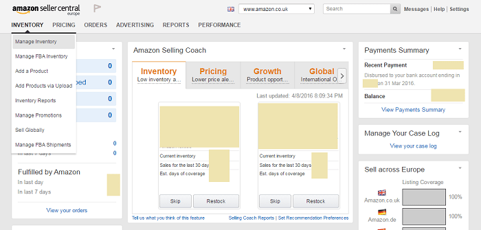 Amazon seller homepage