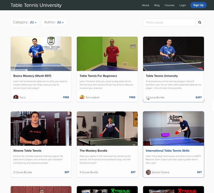 table tennis university video course