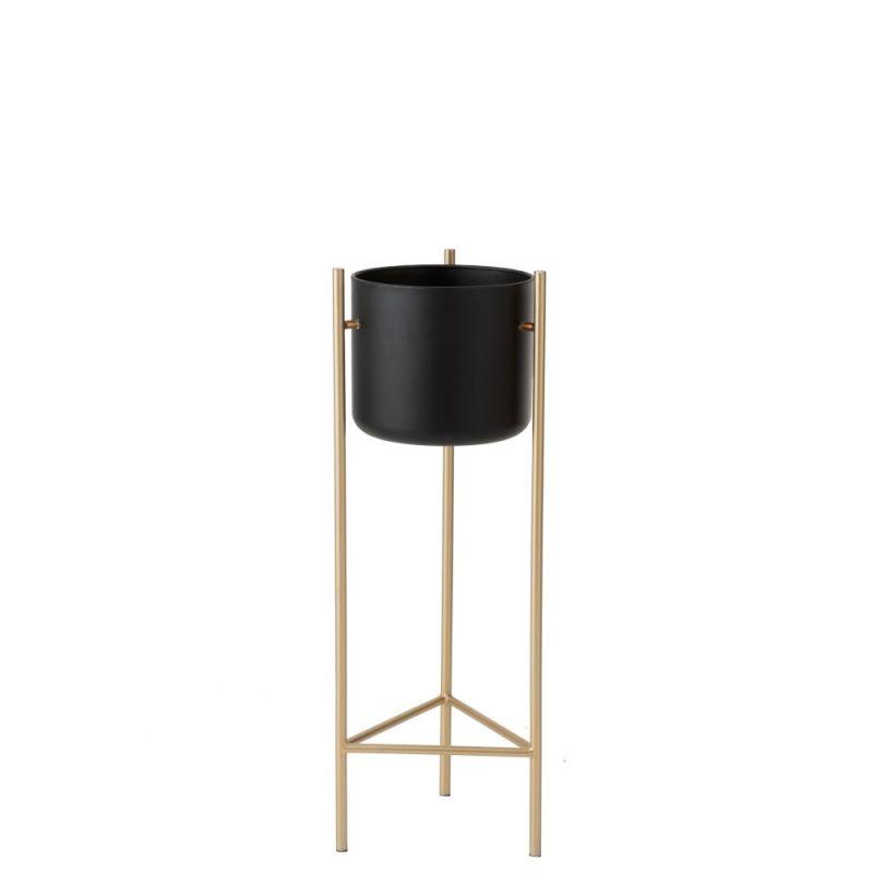 cache pot sur pieds metal noir et or o30 x 80 5 cm