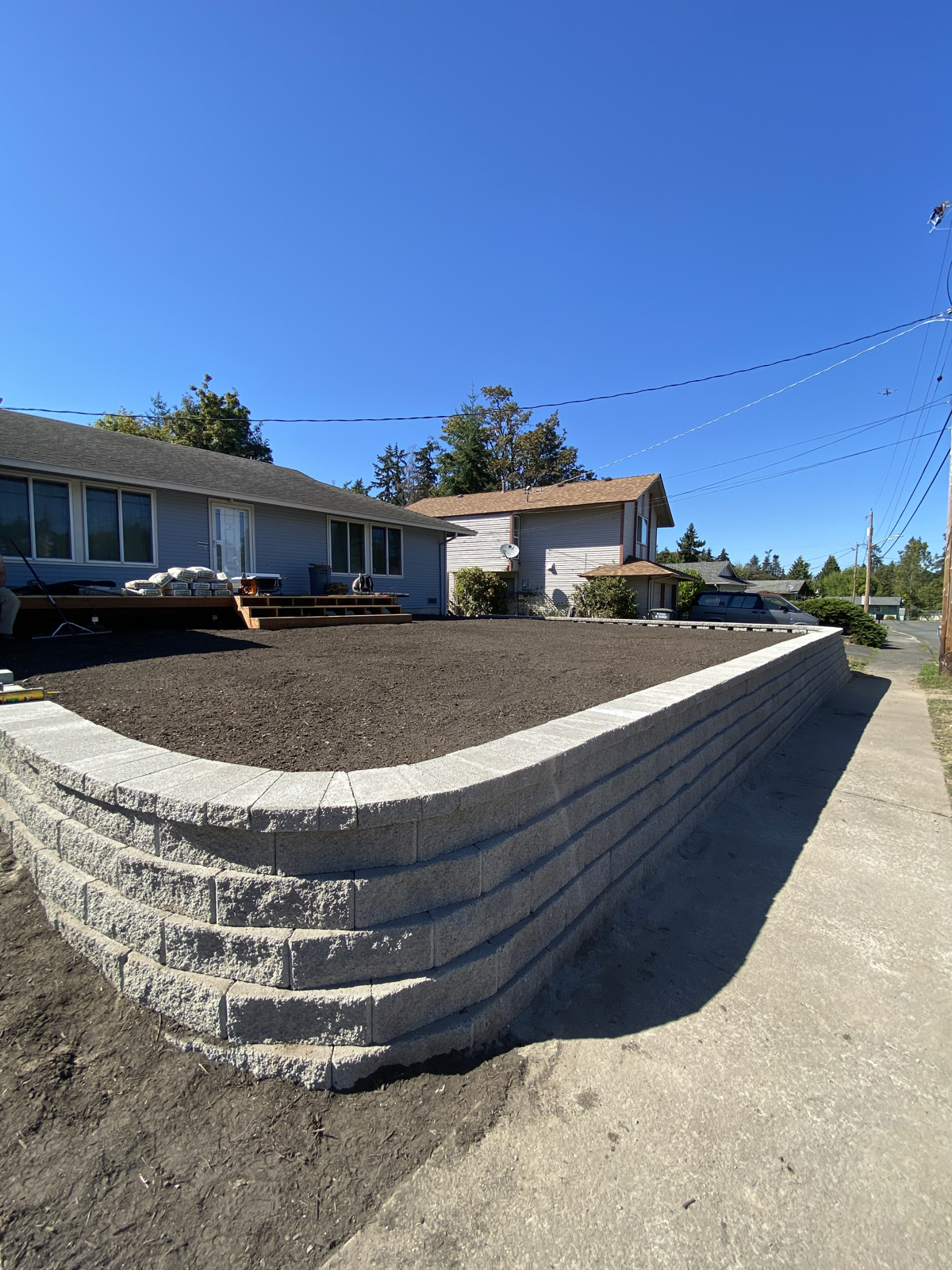 After rebuilding a yard inside of a newly built retaining yard.