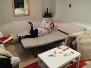 And here's the pullout couch!! Company is more than welcome here!!