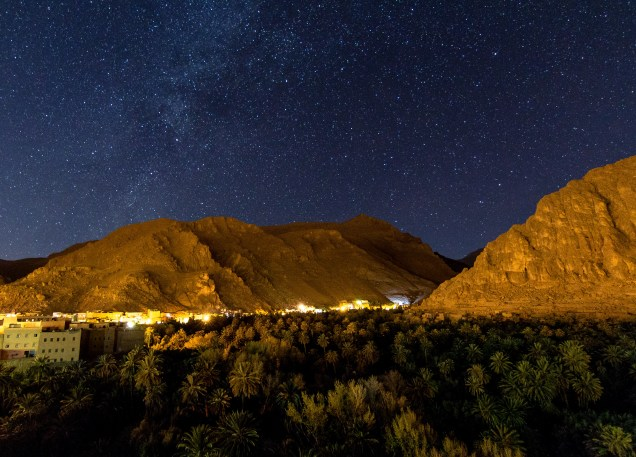 Todra Gorge at night, night photography, Morocco, arboursabroad