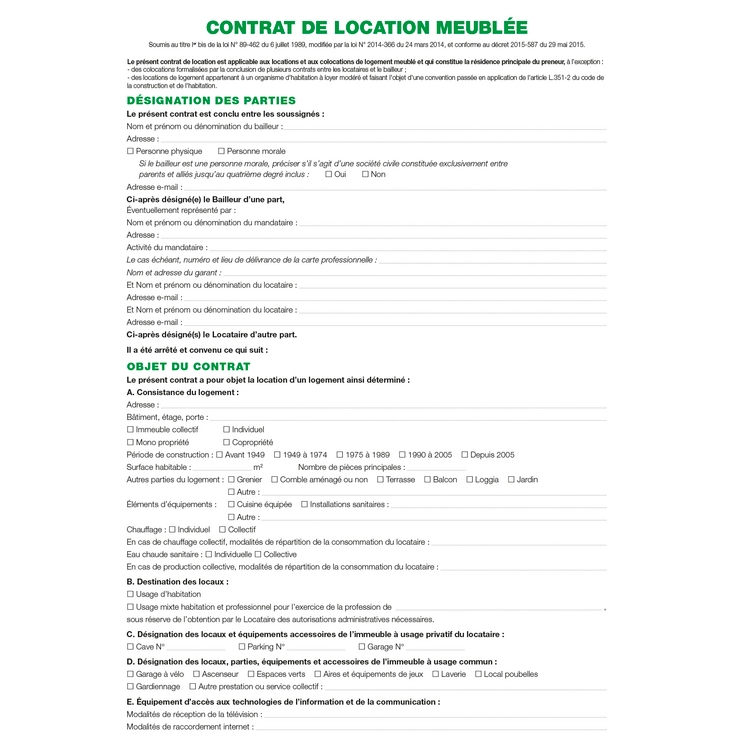 Contrat De Location Locaux Meubls EXACOMPTA 51E ARC